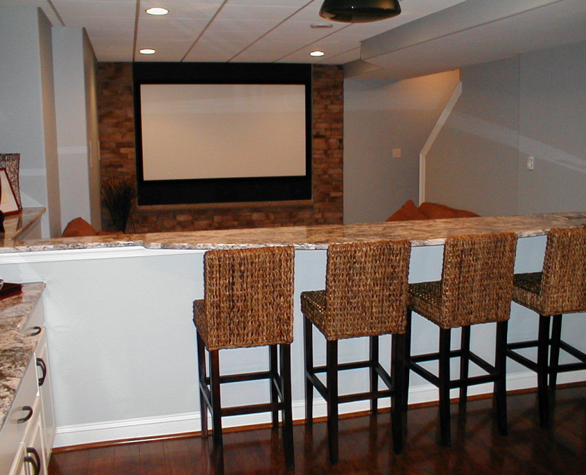 Basement Bar and Home Movie Theater Room