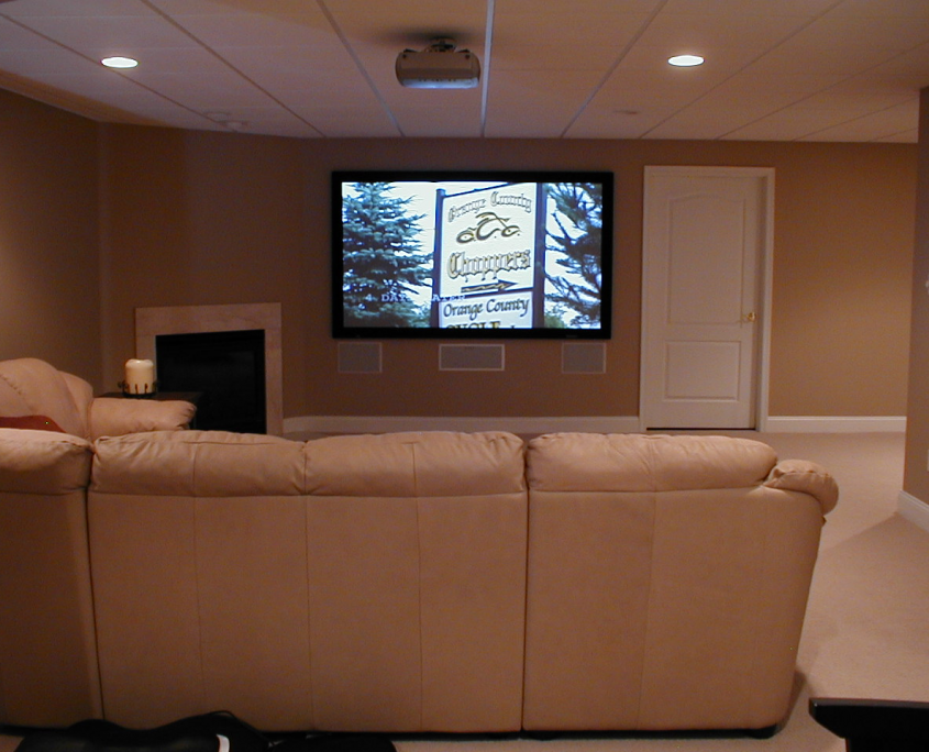 Basement Home Movie Theater Installation with Bar