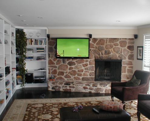 Wall TV Installation and Audio by Brick Fireplace