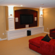 Custom Basement Home Theater with Cabinet